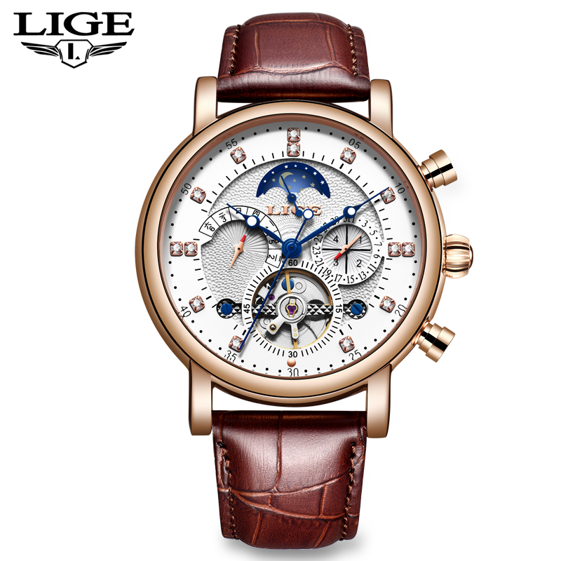New LIGE Leather Waterproof Automatic Watch Men Tourbillon Diamond Mechanical Mens Watches fashion Sport Clock Relogio Masculino