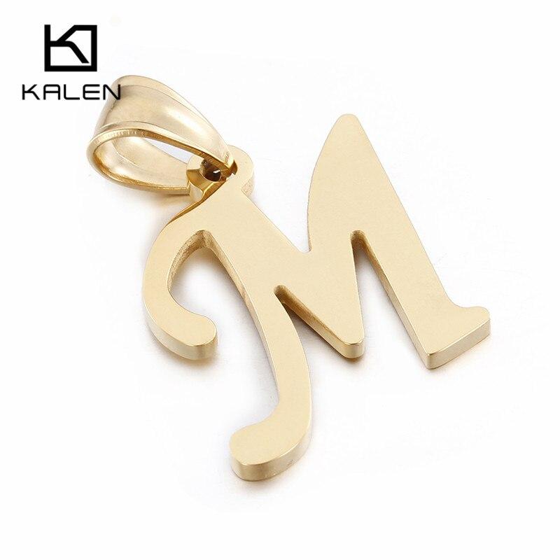Kalen Günstige 26 Hauptstadt Brief Halskette Edelstahl Manlike Gold Brief M Anhänger Mit Kette Frauen Männer Halskette Schmuck Geschenke
