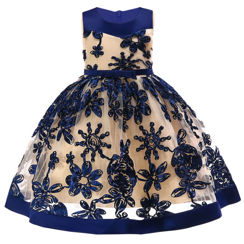 Girls Party Princess Dress Kids Sequins Embroidered Formal Bridesmaid Wedding Birthday Christmas Ball Gown Dress White/Black new flower girls party dress embroidered formal bridesmaid wedding girl christmas princess ball gown kids vestido