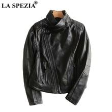 LA SPEZIA Motorcycle Jacket Women Black Biker Coats Female Detachable Collar Soft PU Leather High Quality Ladise Spring Jackets