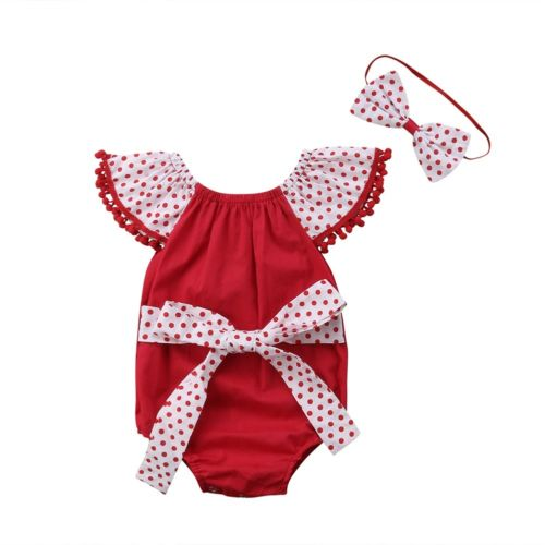 Toddler Baby Girls Wave Point Bow Romper Fancy Outfits Kids Costume 2PCS Baby Clothing