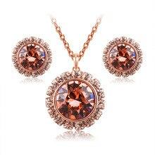 Plated Rose Gold Jewelry Sets For Women Fashion Crystal Necklace Earrings Round Rhinestone Bijoux Luxury Dubai Wedding Jewelry