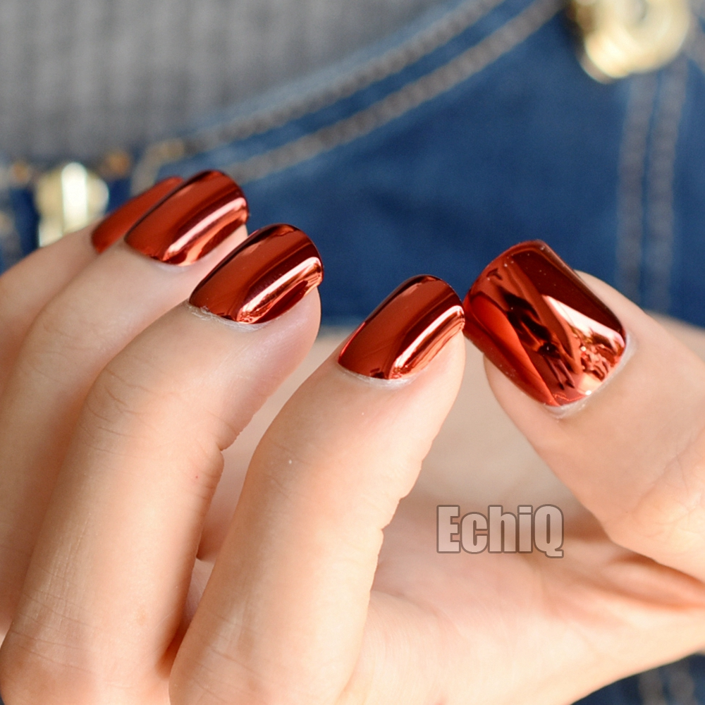 24pcs Dark Red Metal Plate Fake Nails Reflective Mirror Punk Style ...