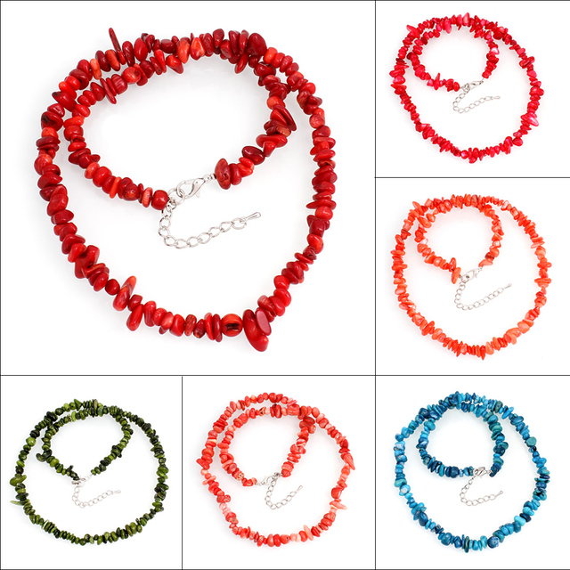 Jewelry 5x3mm-15x8mm Natural colorful Sea Coral Chip Beads Nylon Line Weave Necklace Choker Necklaces Women 48cm