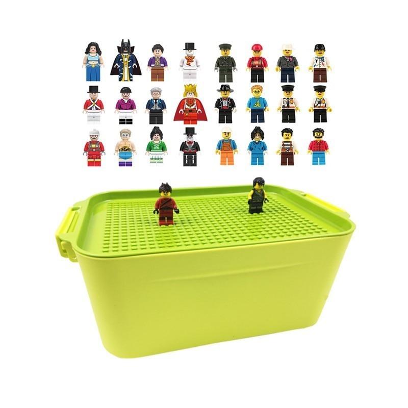 2019 Caixa de Armazenamento de blocos de Construção Da Cidade Blocos Tijolos DIY Brinquedos Mini Figuras Presentes Brinquedos Para As Crianças Compatíveis Legoings Mini Figura