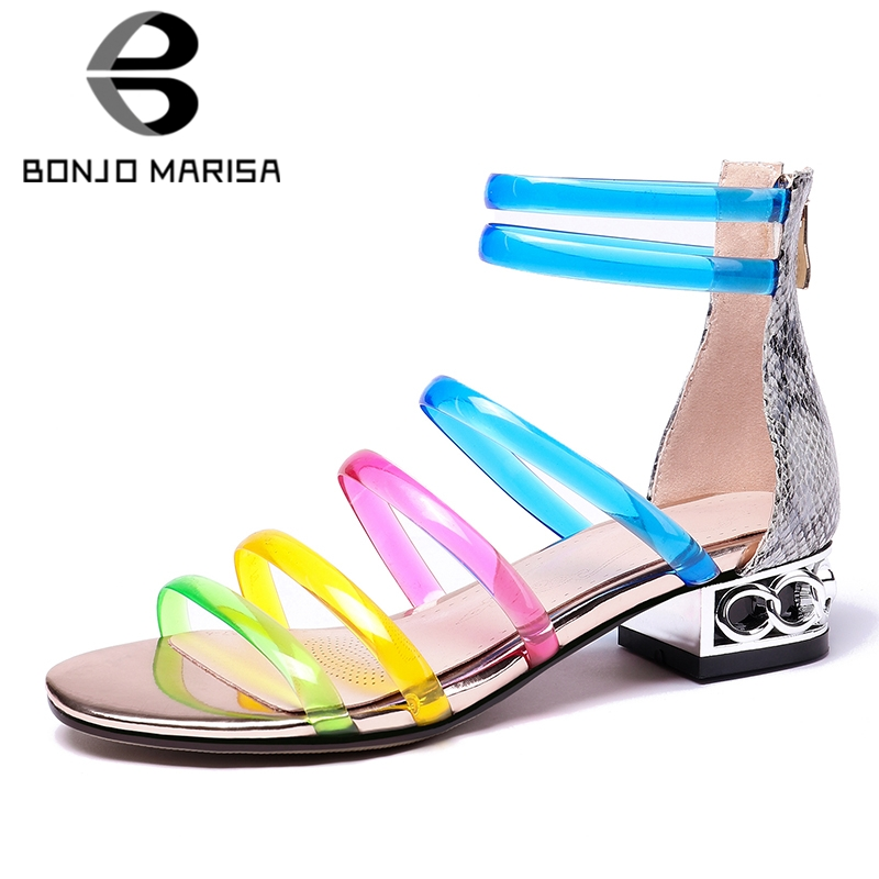 BONJOMARISA 2019 New Plus Size 31-45 Sweet Colored Gladiator Sandals Women Summer Low Chunky Heels Sandals Women Shoes WomanBONJOMARISA 2019 New Plus Size 31-45 Sweet Colored Gladiator Sandals Women Summer Low Chunky Heels Sandals Women Shoes Woman