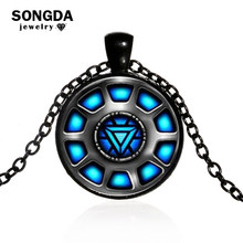 SONGDA High Quality The Avengers Union Iron Man Captain America Heart Arc Reactor Round Glass Cabochon Necklace Men Jewelry 2018(China)