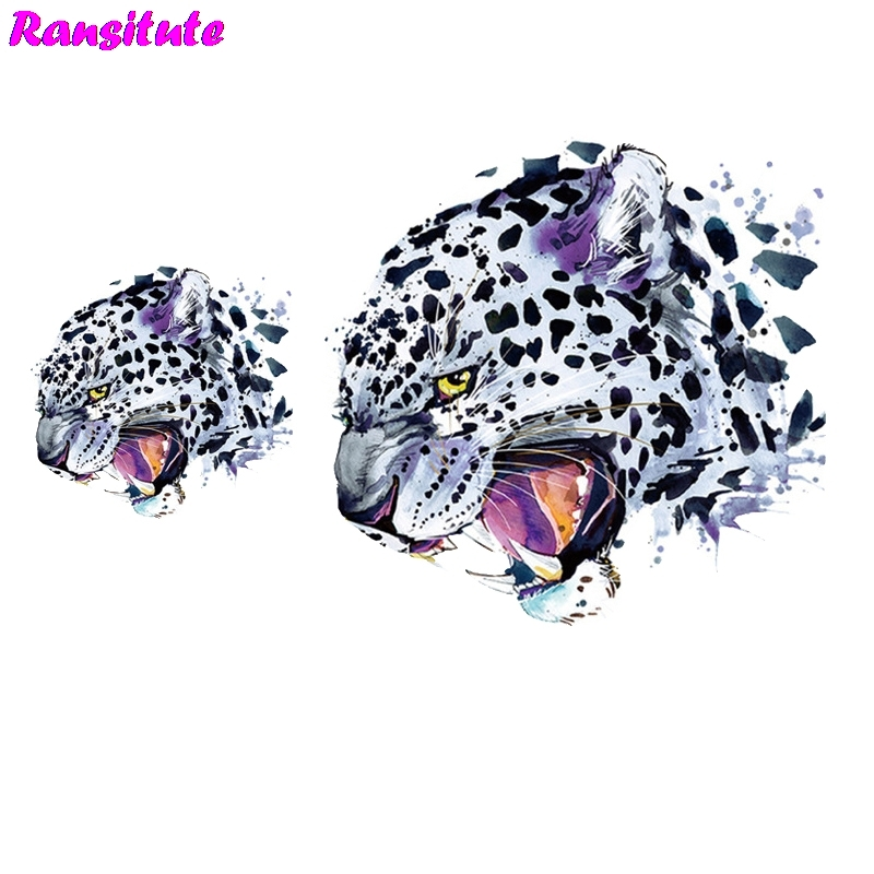 Ransitute 2pcs/set Cool Leopard Clothing Print T-shirt Denim Applique Backpack Patch Washable Heat Transfer R407