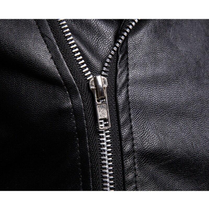 Survêtement Hommes Fermeture Veste Moto Punk Mâle Éclair Occasionnel Aviateur Noir Marque Cuir Pu En Fit Nouvelle Slim Automne XgqzwFS