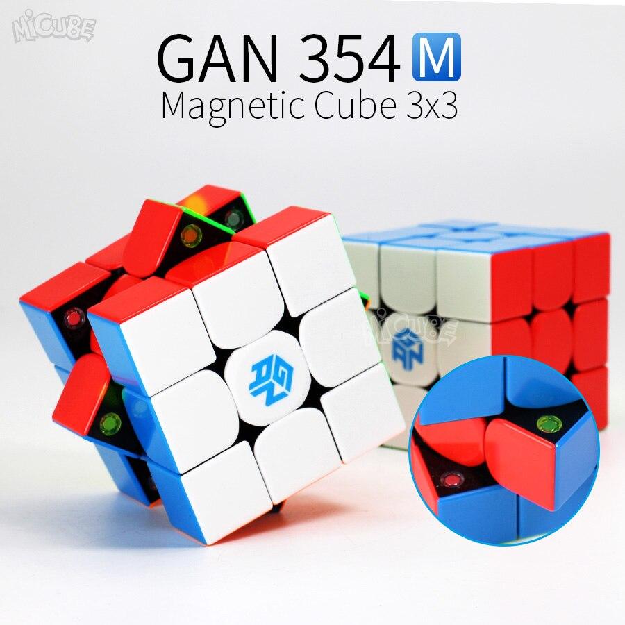 GAN354M 3x3x3 Cubo Mágico Velocidade Cubo Magnético 3x3 GAN GAN 354 M Stickerless Cubo Magico 354 M Enigma Torção Brinquedos Para As Crianças