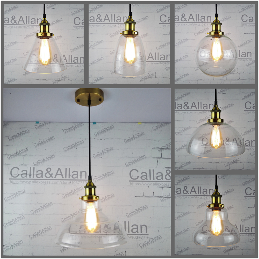 Antique brass Pendant Light Fixture Edison glass ball shades Hanging lamp Retro Industrial Pendant Lamp Loft AC110v 220v E27 edison retro industrial pendant lamp light loft hanging ceiling lamp e27 holder restaurant hallway hotel bar home decoration