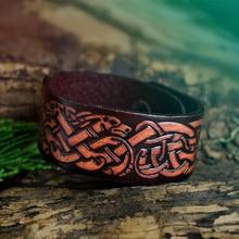 Viking Wolves Bracelet Dyed Leather Norse Odin Wrist Cuff Celtics Knot Wristband Nordic Amulet Jewelry