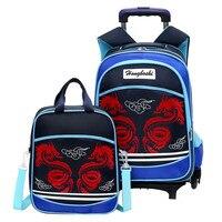 子供スクールバッグセット用女の子男の子子供スーツケースで輪トロリー荷物トラベルトロリーバックパック小さなサイ