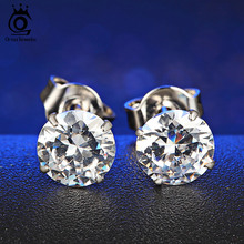 ORSA JEWELS 4 Color Option Cute Zircon Earrings Studs with 0.3ct Austria Crystal Jewelry Earrings for Women OE08(China)