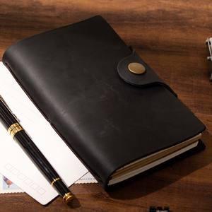 Image 2 - Пустые Дневники, дневники, дневники, рабочая книга A6, чехол из натуральной кожи, личный планировщик, блокнот, серый, черный, коричневый, блокнот для путешествий