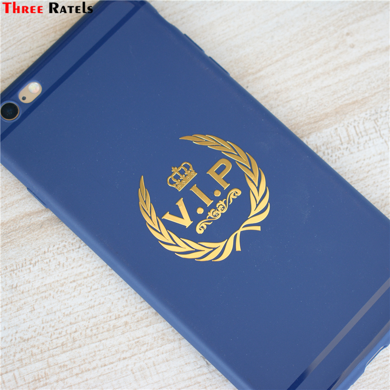 Three Ratels MT-043S# 43x44.5mm Vip Crown Metal Golden Nickel Car Sticker Auto Car Stickers Cool Decal For Mobile Phone