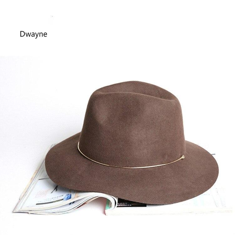 Preto Clássico europeu Mulheres Jazz Chapéu Liso Aba do chapéu de Lã  Australiana Sentiu Fedora Das Senhoras Outono Inverno Ocasional Chapéu  Sombrero Mujeres b031f28d361