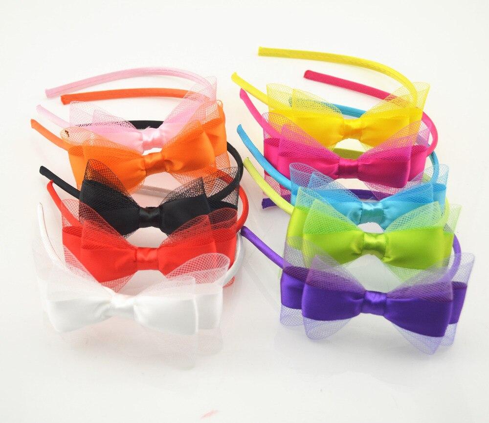 Ha hair bow ribbon wholesale - 1pc Cute Grosgrain Ribbon Bowknot Girls Hairbands Kids Hair Bows Headbands Headwear Hair Accessories China