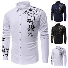 Plus Size Fashion Men Flower Print Button Turn Down Collar L