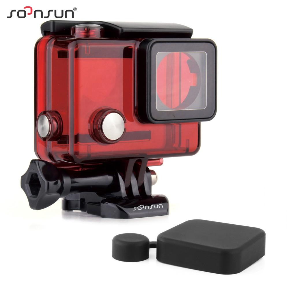 Prix pour SOONSUN GoPro Hero 4 Sous-Marine Boîtier Étanche Shell Cas avec Logement cas Lens Cap pour Go Pro Hero 3 3 + 4 Caméra rouge