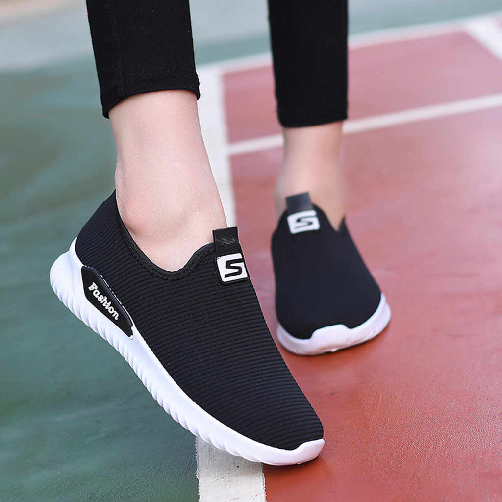 Women Ladies Casual Loafers Sneakers Flats Breathable Stretch Cloth Shoes women sport shoes lady breathable slip on#G4