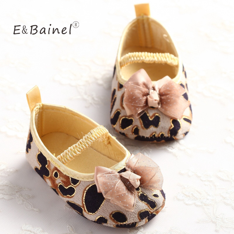 New Sweet Cute Fashion Leopard Newborn Baby Girl Princess Mary Jane Bow First Walkers Infant Toddler Crib Shoe