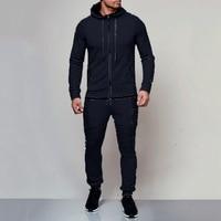 2018 fitness Tracksuit Sportwear Hoodies Pants slim fit Mens Set 2pcs Zipper Hooded Sweatshirt Jacket Pant Moleton Masculino