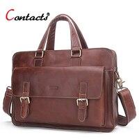 CONTACT S Genuine Leather Men Bag Business Handbag Briefcase Men Shoulder Messenger Bag Casual Laptop Bag