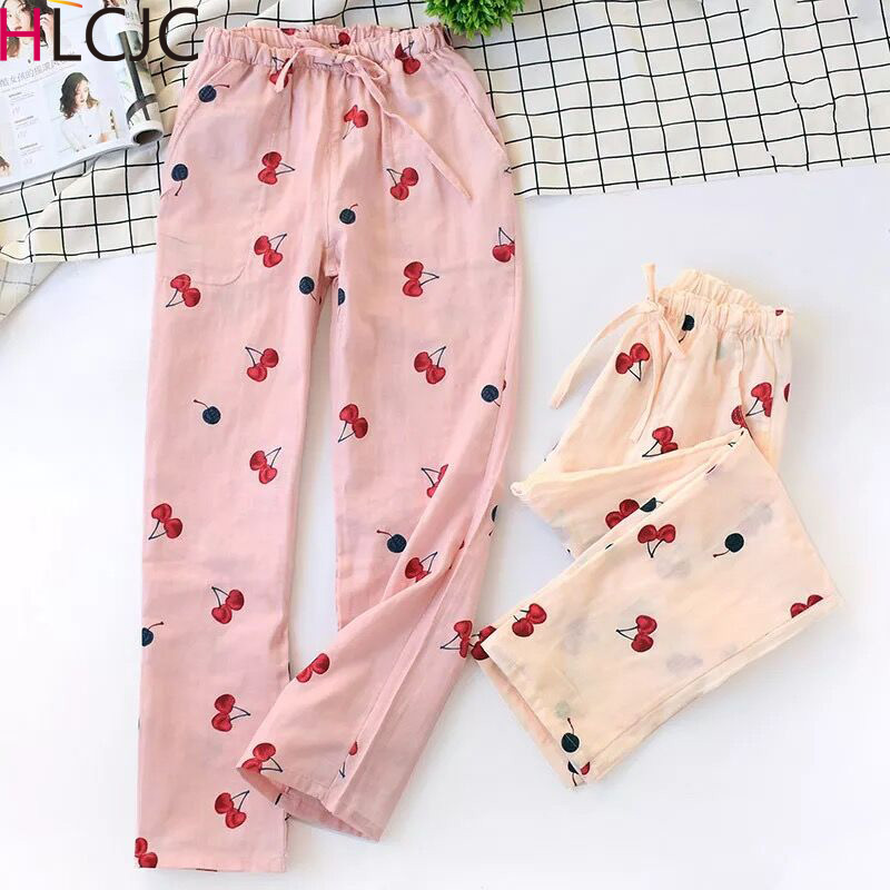 New Lady Gauze Cotton Women Bottoms Pajamas Pants Thin Fresh Cherry Summer Home Pants Loose Casual Bottoms Lounge Sleep Pants