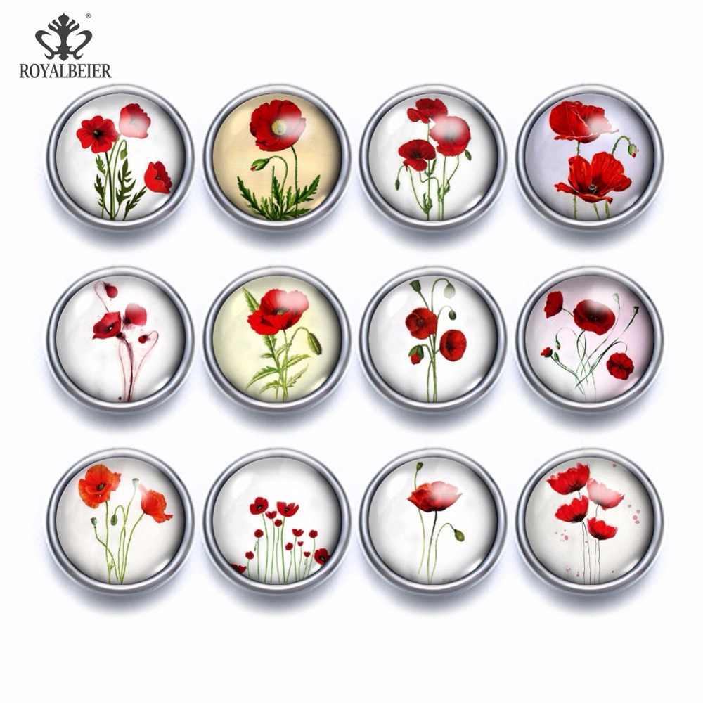 12 Pcs/Banyak Campuran Pola Bunga Berwarna-warni 12 Mm Kaca Snap Tombol Perhiasan Segi Kaca Snap Fit Snap Anting-Anting Kalung Gelang