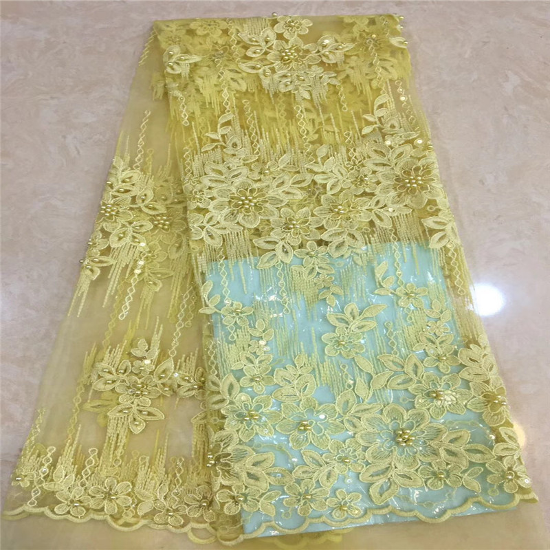 HFX African Embroidered Nigerian Laces Fabric Bridal Yellow Beaded Net Lace Fabric High Quality French Tulle Lace Fabric X1171-9HFX African Embroidered Nigerian Laces Fabric Bridal Yellow Beaded Net Lace Fabric High Quality French Tulle Lace Fabric X1171-9