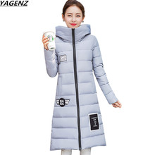 New 2017 Woman Winter Coats And Jackets Slim Long Sleeve Thick Hooded Plus Size Medium-long Parkas Female Outerwear YAGENZ K705