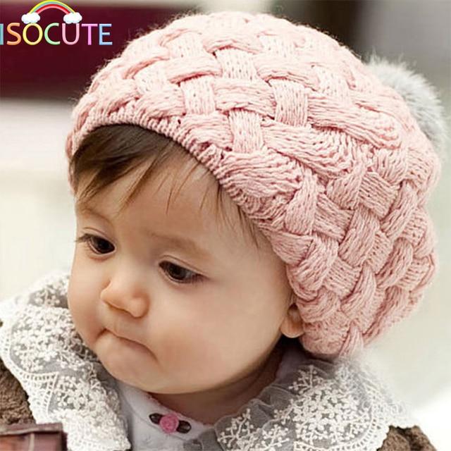 ISOCUTE Bebê Chapéu do Inverno Da Menina Crochet Knit Boina Infantil  Artificial Bola de Pêlo de 7dcefd00897