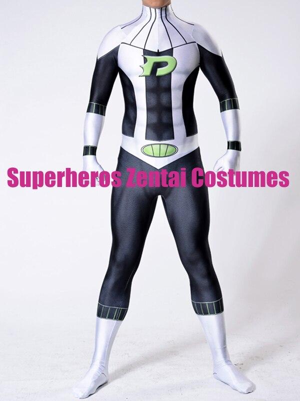 3D Print Danny Phantom Cosplay Costume Custom Made Marvel Comics Phantom Costume Adult Men's Halloween Carnival Zentai Catsuit