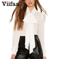 Viifaa Long Sleeve Vintage Bow Blouse Shirt Women 2017 Ladies White And Black See Through Sexy