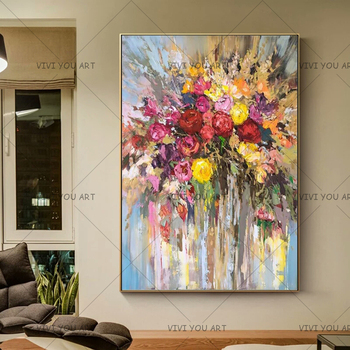 Large Wholesale 100% Handmade Modern Impression Decor Art Flower Painting Wall Decorative Painting For Living Room