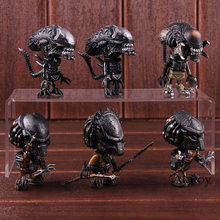 Aliens Vs Predator Requiem AVP Mini Cosbaby Lupo Predator Predalien Battle Damaged Alien Figura di Azione della Bambola Giocattolo 6 pz/set(China)