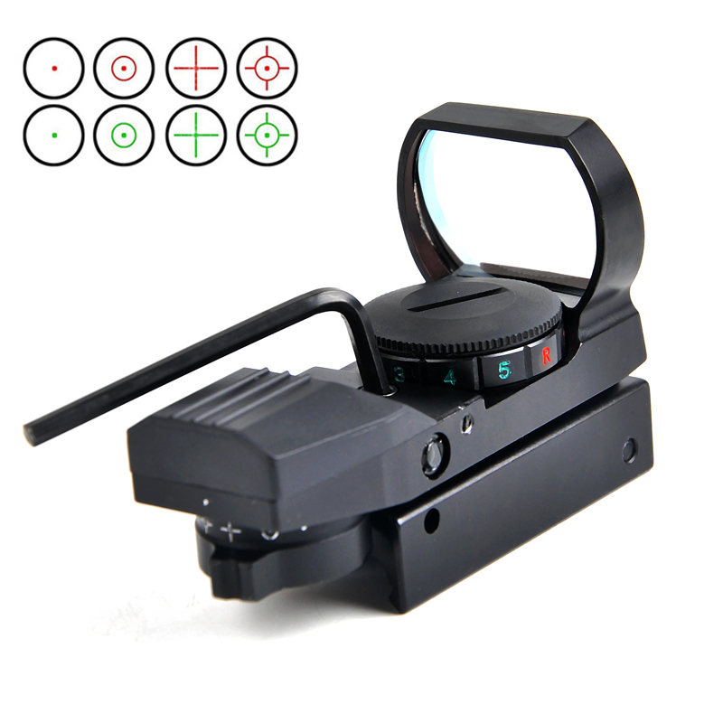 Hot 11mm/20 milímetros Ferroviário Reflex 4 Reticle Tactical Optics Scopes Visão Holográfica Red Dot Visão Colimador Para airsoft Pistola de Ar охота