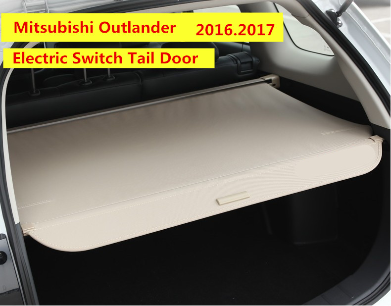 Car Rear Trunk Security Shield Cargo Cover For Mitsubishi Outlander 2016.2017 Electric Switch Tail Door Auto Accessori for mitsubishi outlander 2005 2006 rear trunk security shield cargo cover high qualit black beige car auto accessories