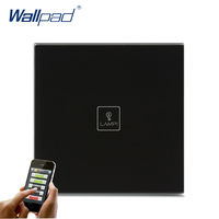 2016 Hot Safe Wifi Remote Wallpad Black Glass Switch 1 Gang 2 3 Way APP Wireless