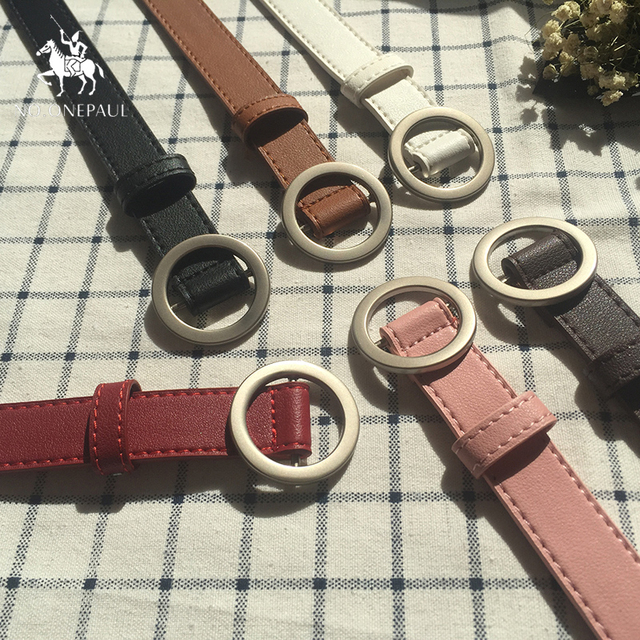 NO.ONEPAUL Circle Pin Buckles Belt female deduction side gold buckle jeans wild belts for women fashion students simple New