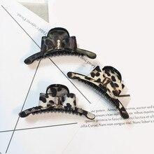 Korean High Quality Girls Leopard grain large Hair crab claw clip Cloth bowknot Claws Headbands For Women Accessories