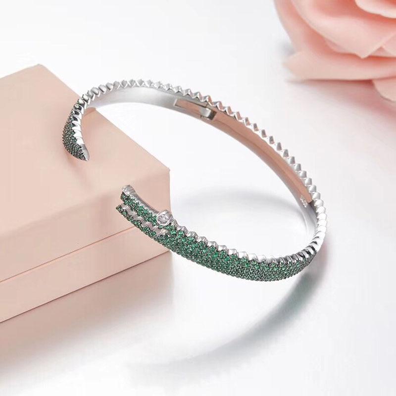SLJELY 925 Sterling Silver Luxury Full Micro Green AAA Cubic Zirconia Animal Animal Bangle Bracelet Women