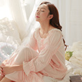 Free Shipping Vintage Nightgowns Pink And White Princess Long Pijama Autumn Round Neck Sleepwear Ankle-Length Nightdress