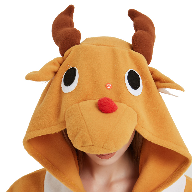 Funny Christmas Elk Kigurumi Onesie Animal Deer Jumpsuit Sleepwear Adult Pajamas Polar Fleece For Halloween Pyjamas Home Party (1)