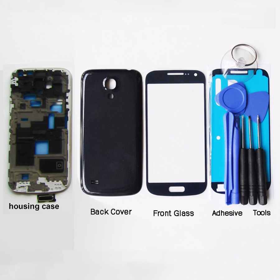 New Full Set For Samsung Galaxy S4 mini i9190 i9192 i9195 Housing Case Front Frame + Back Cover Case+ Front Glass+Adhesive+Tools
