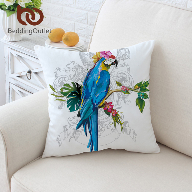 BeddingOutlet Macaw Art Cushion Cover Floral Pillow Case Bird Morning Glories Throw Cover Animal Print Decorative Pillow Covers