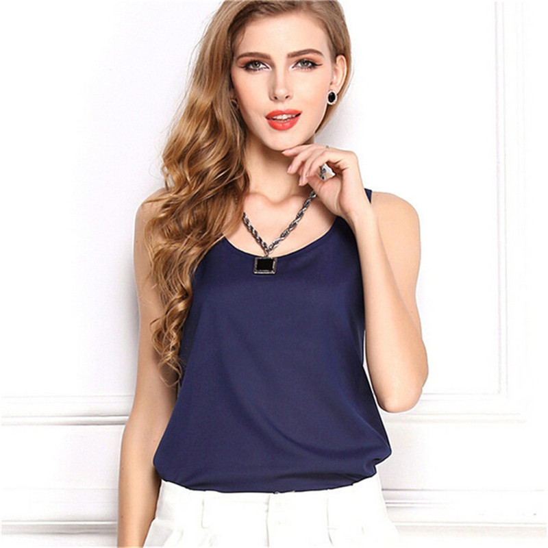 Image 2 - Summer style Multiple Women Tank Tops Brand Good Quality Women Chiffon Sleeveless Tshirt Female Shirt blouse Blusas Femininas-in Tank Tops from Women's Clothing
