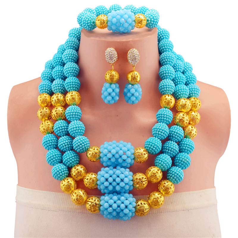 все цены на Lake Blue Vintage Crystal African Beads Jewelry Set Necklace Earrings Resin Antique Gold-color Jewelry Sets for Women