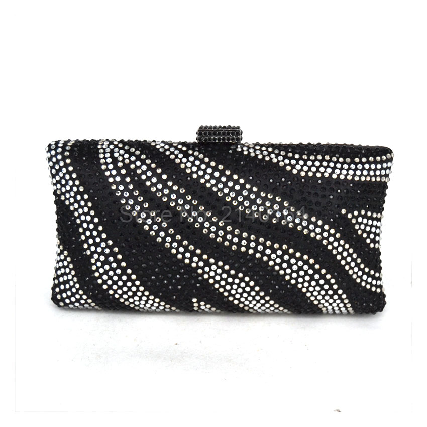 Black And White Women Evening Bag Diamante Crystal Clutch Bag River Pattern Wedding Party Purse Royal Blue Crossbody Handbag T05